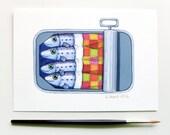 """Sardines in Tin, Cozy Sardines, Happy Sardines, Fish Art, Fish Illustration, Fish Painting, Print 5"""" x 7"""""""