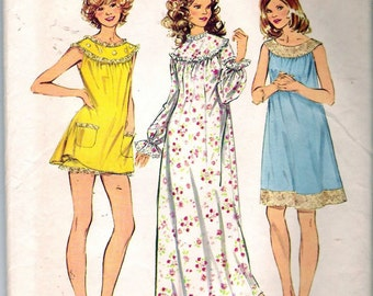 "Vintage 1972 Simplicity 5030 Nightgown in Three Lengths with Bloomers Sewing Pattern Size Small 8-10 Bust 31 1/2"" - 32 1/2"" UNCUT"