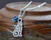Tiny Cat Kitten Necklace Silver Blue Detailed FREE Shipping Modern Swirls Fashion Jewelry Pendant Pet Animal Lovers Paisley Beading
