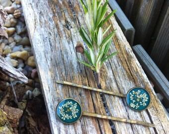 Boho hairpins - flower hair pins - real flower hair -  pressed flowers hair - bride hairpins - bridesmaids - flower girl - bridal hair pins