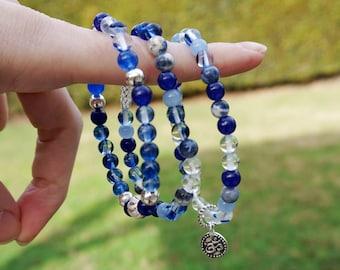 Blue Beaded Bracelet Set, Om Bracelet Stack, Beaded Bracelets with Aventurine, Sodalite, Sapphire Glass, & Tibetan Silver, Boho Bracelet Set