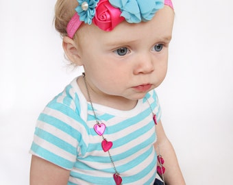 Pink and Aqua Baby Headband, Infant Headband, Newborn Headband, Bright Pink and Aqua Baby Headband, Pink Headband, Aqua Headband