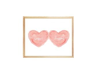 Sweet Dreams, Coral Nursery Art, Peach Nursery, 8x10 Watercolor Print, Baby Girl Nursery, Coral Nursery Decor, New Baby Gift, Sleeping Baby