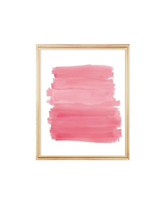 Pink Ombre Print, 8x10, Pink Nursery Art, Playroom Decor, Girls Room Decor, Pink Nursery Wall Art, Pink Watercolor, Pink Brushstrokes,
