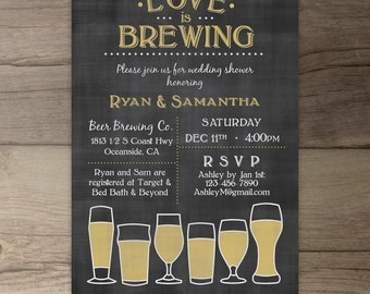 Love is Brewing • Wedding Shower •Engagement Party • Chalkboard Brewery Invitation • DIY Printable Invitation
