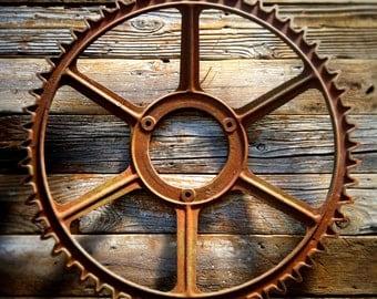 Antique Industrial Iron Gear