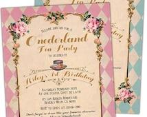 Alice in Wonderland First Birthday invitation. Onederland. Tea Party. Mad hatter. Shabby Chic. Unbirthday. Pink. Blue. Custom.