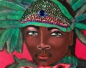 Beaded Mardi Gras Indian Original Painting