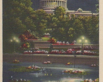 WASHINGTON d. c., CAPITOL Building, REFLECTION, Vintage Linen Postcard, Botanical Gardens At Night, Full Moon, Lights, Flowers, c. 1940s