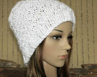 Knit Hat, Womens Hat, Mens Wool Beanie, Skull Cap, Hand Knit White Beanie, Warm Winter Beanie, Australia