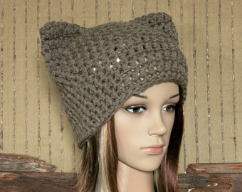 Knit Pussy Hat, Chunky Wool Beanie, Womens Baby Cat Ears Knitted Skull Cap, Hand Knit Mid Brown Photo Prop Beanie. Australia
