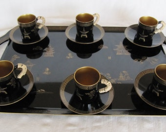 Vintage Occupied Japan Maruni Lacquerware Metal Tray Cups Saucers Handmade
