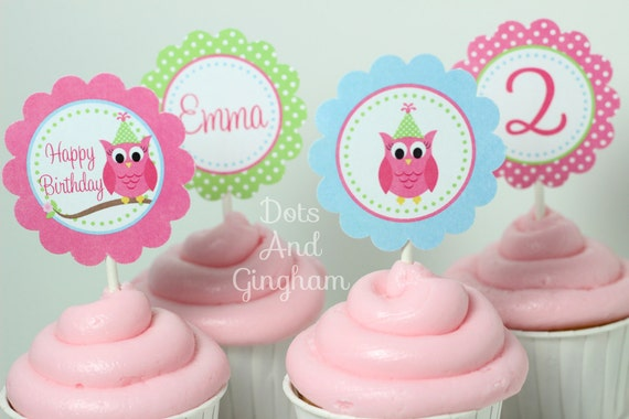 Owl Cupcake Toppers-Pink Owl Cupcake Toppers-Owl Cupcake Topper-Printable Owl Cupcake Topper-Owl Birthday Cupcake-Printable Owl Toppers