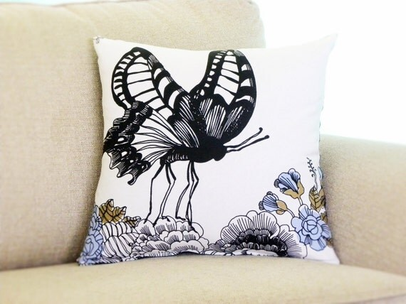 Butterfly Print Pillow Cover 18x18 in Black, White, Blue