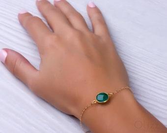 Emerald bracelet / May Birthstone bracelet / Green stone bracelet /Bridesmaid bracelet / Genuine emerald / Gold bracelet /Best friend|Phasis