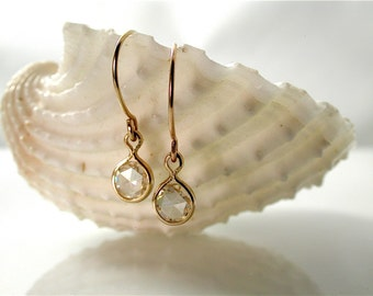 Rose Cut 5mm Moissanite Earrings - Forever Brilliant, 14K Gold, Limited Edition, Made to Order, Earrings for the Bride