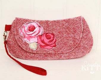 Red wool wristlet clutch - pouch with rose applique