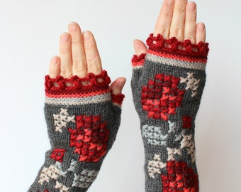 Knitted Fingerless Gloves, Roses,Grey, Red,  Gift Ideas,  Clothing And Accessories, Gloves & Mittens, For Her,