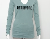 Herbivore 100% Organic Cotton Women's Vegan Vegetarian Lightweight Hoodie Long Sleeve Shirt Animal Rights Printed in Grunge Distressed Style