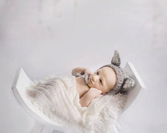 Mohair Wolf Bonnet and Tail set O-3 months Made to order