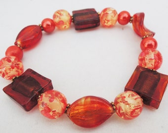 Red and Gold Elastic Bracelet Handmade by Lindsey - Red-Orange Beads - Elastic Bracelet - Christmas - Valentine's Day