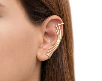 Minimal statement ear cuff non pierced, ear cuff no piercing, ear cuff gold, earcuff curved bar earring ear climber, rose gold ear crawler
