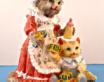 Resin Mama Cat Figurine, Emma Catnip & Baby Bertram, Victorian Kitty Cat Figures, International Resourcing, Colorful Hand Painted
