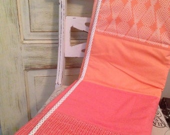 Coral Ombre Baby Quilt - Coral, Gold, Metallic