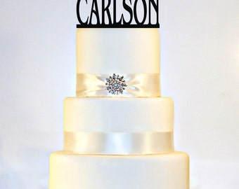 "Wedding Cake Topper Or Sign Monogram  personalized with ""Mr & Mrs"" and YOUR Last Name"