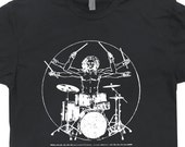 Drums T Shirt Da Vinci Drummer T Shirt Rock Punk Hip Hop Tee Shirts Vitruvian Man Tee mens womens kids tees