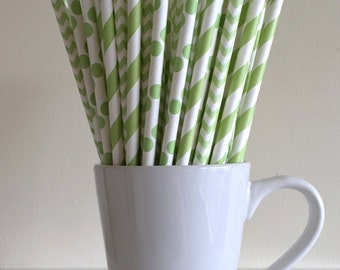 Green Paper Straws Light Green Striped, Chevron, Polka Dot Party Supplies Party Decor Bar Cart Cake Pop Sticks  Party Graduation