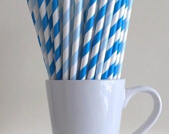 Blue and Light Blue Striped Paper Straws Party Supplies Party Decor Bar Cart Cake Pop Sticks Mason Jar Straws  Party Graduation