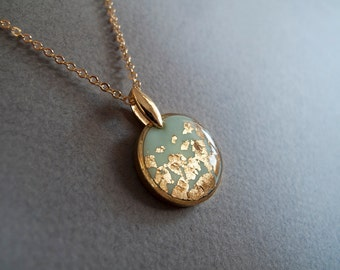 Mint Gold Circle Necklace -- Gift for Her