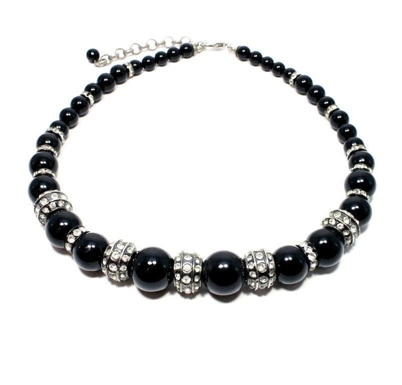 chunky onyx necklace black statement necklace chunky