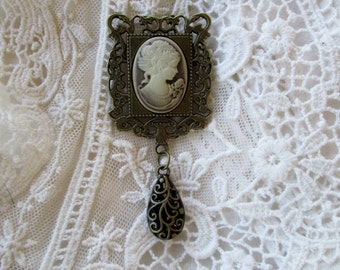 Victorian Edwardian Cameo Brooch, Timeless, Fresh Vintage Inspired Gift, Downton Abbey Jewelry, Gift giving ready, wedding, bridesmaid