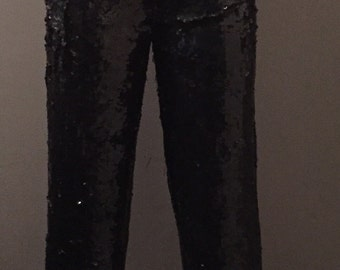 80s Black Sequined Pants