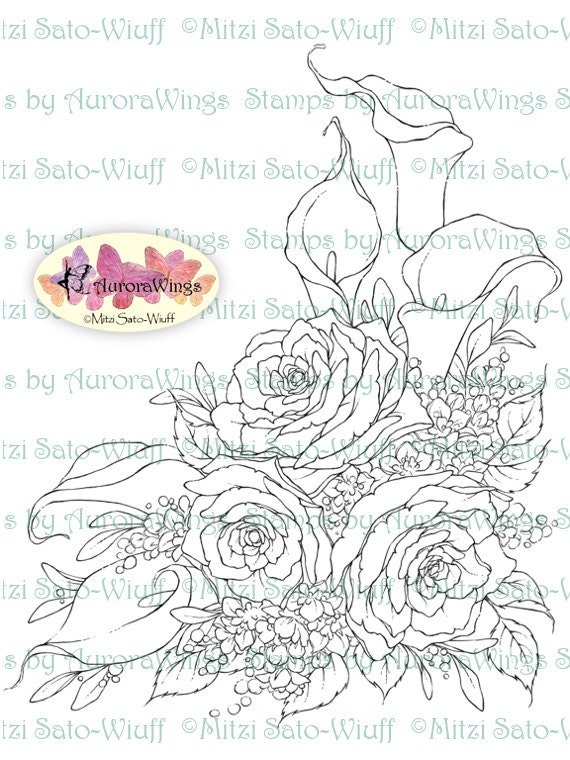 digital stamp instant download calla lily and rose by