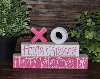 Valentines Decor - Hugs & Kisses, XOXO Wood Block Set Valentine's Day Home Decor Primitive Blocks Hugs and Kisses Stacking Blocks Set