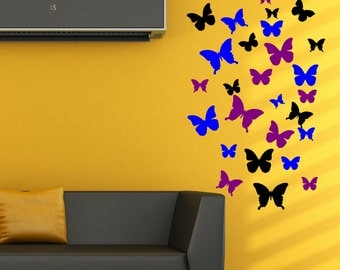 Butterfly Wall Decal Set 30 pices  Girls Nursery Wall Art  Vinyl Wall Art Butterflies Butterfly Wall Stickers Set  AS@44