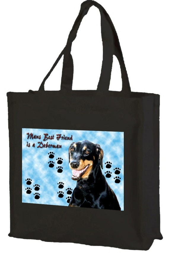 Doberman Dog Cotton Shopping Bag with gusset and long handles, 3 colour options