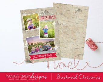 CUSTOM COLOR - Birchwood Christmas - Holiday Photo Card