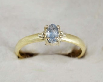 Solid Gold Engagement Ring, 18k Solid Yellow Gold, Light Blue Sapphire Ring, Handmade Engagement Ring, FREE SHIPPING