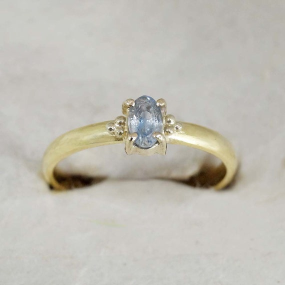 solid gold engagement ring 18k solid yellow gold light blue