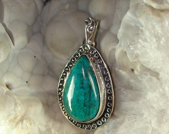 Chrysocolla in Crystalling Quartz with Malachite Pendant, Sterling Silver