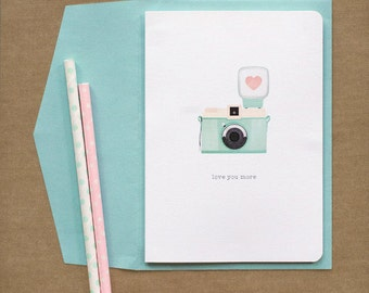 Vintage Camera 'Love You More' Love Card