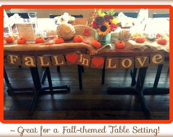 Fall In Love Banner - Bridal Shower / Backdrop / Wedding Banner / Wedding Garland /Photo Prop - Fall in Love Couples Shower