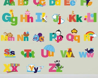 Picture Alphabet Letters Wall Stickers, Alphabet Wall Decals, Letter Wall  Art, Nursery Wall Transfers - Removable and Repositionable - FA079