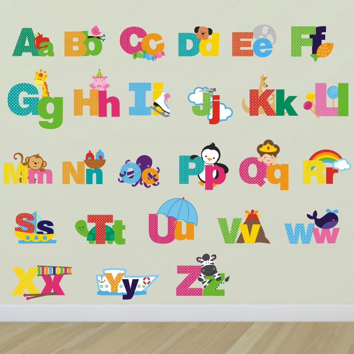 picture alphabet letters wall stickers alphabet wall decals. Black Bedroom Furniture Sets. Home Design Ideas