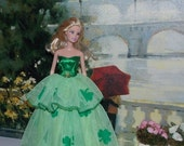 St. Patricks Day Green Clover Gown fits Barbie sized dolls.  Handmade Barbie Clothes