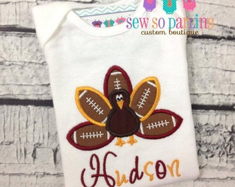 Turkey Football Baby Outfit - Baby Thanksgiving Outfit - Thanksgiving Shirt - Turkey Shirt - Football Shirt - red yellow - burgundy gold